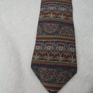 Tie Baroque Necktie Green Purple Gold Gray